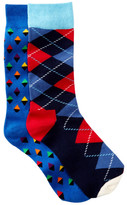 Happy Socks Stripes & Diamonds Crew Socks - Pack of 2
