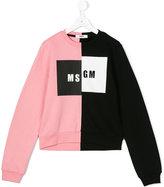 MSGM Teen logo print sweatshirt - kids - Cotton - 14 yrs