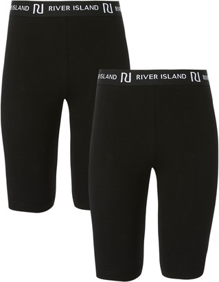 River Island Girls Black RI cycling shorts 2 pack