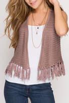 She + Sky Fringe Sweater Vest