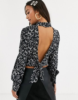 In The Style x Stephsa print cropped blouse with open back tie detail