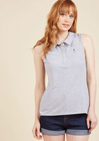 mct1328 You'll feel a fireworks connection with your most stylish self when this sleeveless polo shirt is part of your look! A casual separate from our ModCloth namesake label, this heather grey top touts a petite embroidered ice pop on its buttoned chest, cool s