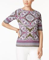Charter Club Scarf-Print Top, Only at Macy's