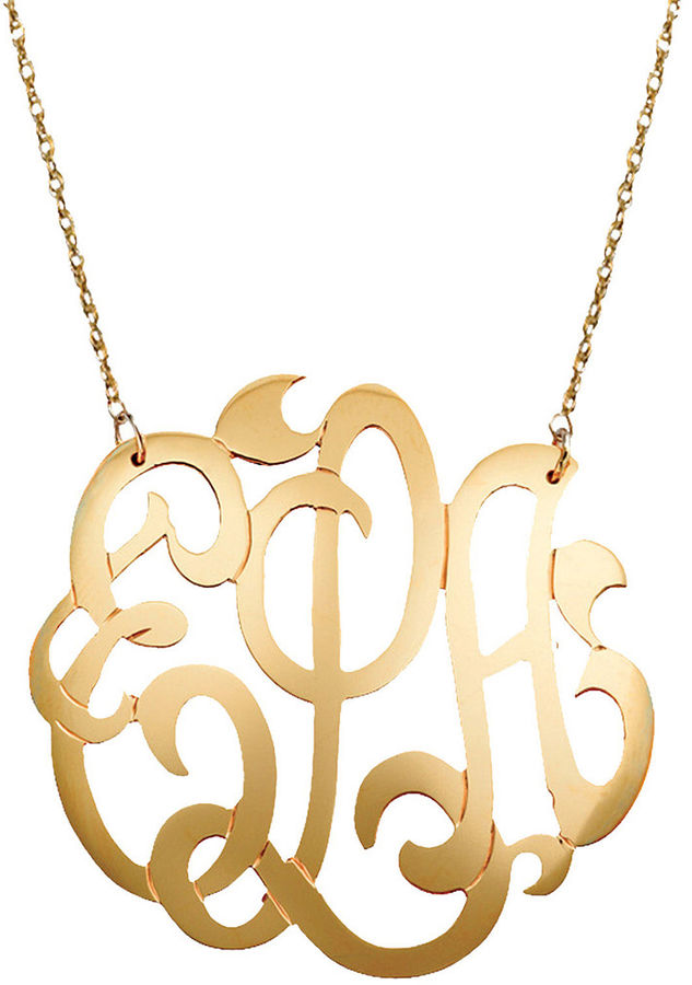 JCPenney FINE JEWELRY Personalized 12K Gold-Filled 25mm Monogram Necklace