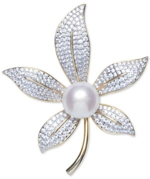 Macy's Cultured Freshwater Pearl (10mm) & Cubic Zirconia Lily Pin in Sterling Silver & 18k Gold-Plate