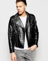 Weekday Nick Leather Biker Jacket Belted in Black