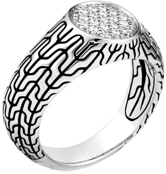 John Hardy Classic Chain Sterling Silver & Diamond Pave Signet Ring