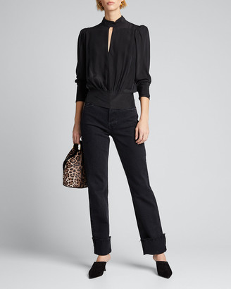 Frame Luxe Keyhole-Front Long-Sleeve Top