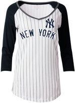 5th & Ocean Women's New York Yankees Pinstripe Glitter Raglan T-Shirt