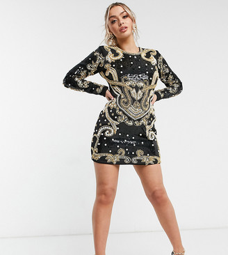 A Star Is Born exclusive opulent pearl embellished mini dress in white and gold