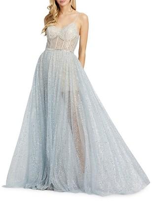 Mac Duggal Sparkle Mesh Gown