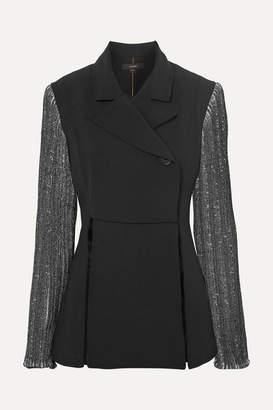 Ellery Prediction Cady And Ribbed-knit Blazer - Black