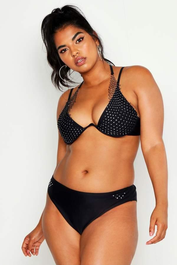 boohoo Plus Premium Jewelled Netted Underwire Bikini
