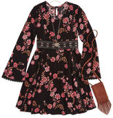 Knitworks Knit Works Black Floral Long Sleeve Peasant Dress w/ Purse- Girls' 7-16