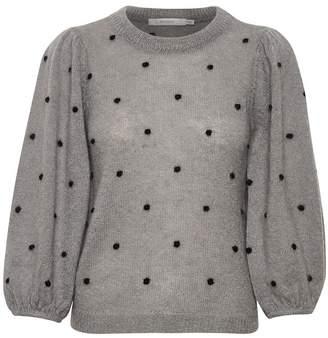 Gestuz DionnaGZ puff pullover - Size L   wool   grey   black polka dots - Grey/Grey
