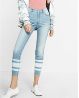 Express High Waisted Striped Hem Stretch Cropped Jean Leggings