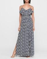 Express Floral Cold Shoulder Ruffle Maxi Dress