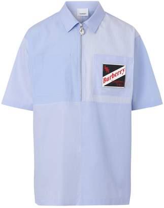 Burberry Short-Sleeve Logo Patchwork Cotton Shirt