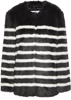 Frame Striped Faux Fur Coat
