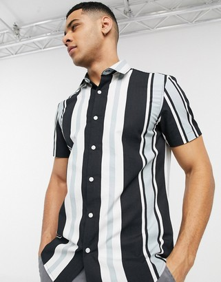 New Look ripstop stripe shirt in white