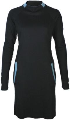 Format YELL black bluegreen dress - S - Teal/Black