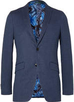 Etro - Dark-Blue Slim-Fit Stretch Cotton and Linen-Blend Jacquard Blazer