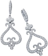 Lafonn Platinum Plated Sterling Silver Simulated Diamond Micro Pave Filheart Dangle Earrings
