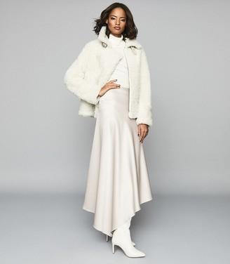 Reiss HARLEY Asymmetric Satin Skirt Gold