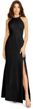 Betsey Johnson Rhinestone Bow-Back Halter Gown