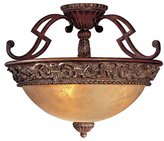 Minka Lavery 949-126, Belcaro Round Glass Semi Flush Lighting, 3 Light, 180 Total Watts, Walnut