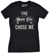 Black 'The Mom Life Chose Me' Fitted Tee