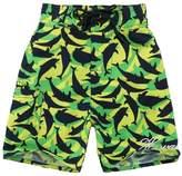 Palmwave Boy Hawaiian Swimwear Board Shorts with Tie in Green Yellow with Navy Dolphin Print Year Old