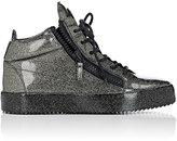 Giuseppe Zanotti Men's Patent Leather Double-Zip Mid-Top Sneakers-DARK GREY