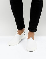 Armani Jeans Logo Slip On Sneakers in White