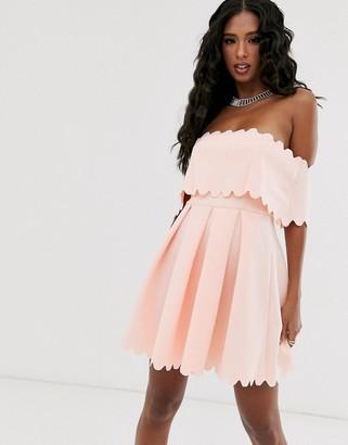 Bardot Asos Design ASOS DESIGN Scallop edge skater mini dress-Pink