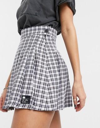 Bershka checked pleated mini tennis skirt in mauve