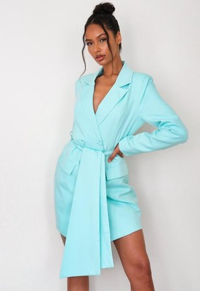 Missguided Turquoise Belted Blazer Dress