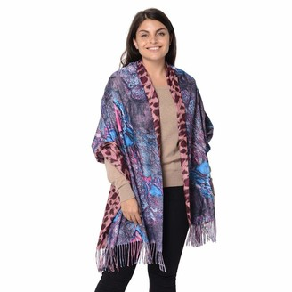 TJC Scarf Reversible Digital Printed Leopard and Butterfly Pattern Lightweight Scarf Shawl Wrap for Womens with Tassel Size 70x180 Cm - Pink and Multi