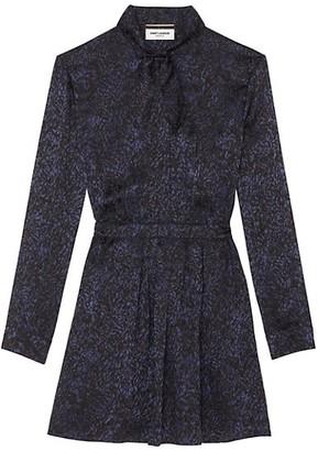 Saint Laurent Jacquard Tieneck Silk Shirtdress