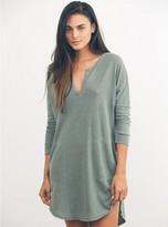 Junk Food Clothing Stray Heart 3/4 Henley Dress-ivory-s