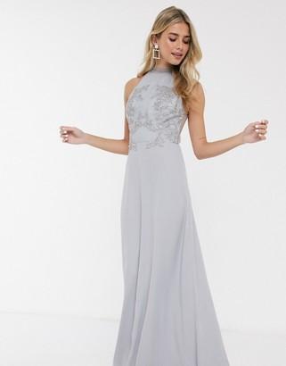 Chi Chi London Chi Chi Enya lace detail maxi dress in blue