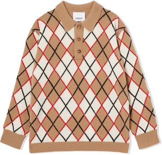 BURBERRY KIDS Argyle intarsia knit polo shirt