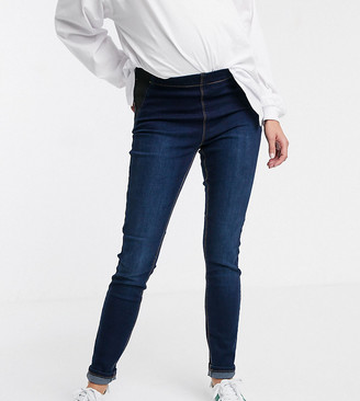 Mama Licious Mama.Licious Mamalicious maternity post birth stretch skinny jeans in dark blue wash