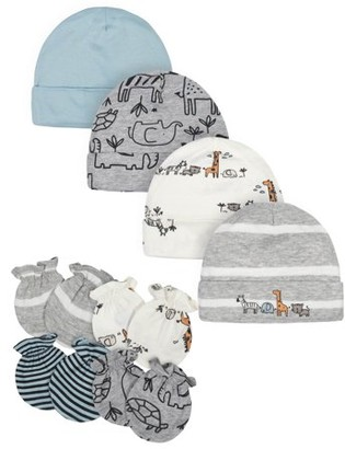 Gerber Baby Boy Caps and Mittens Shower Gift Set, 8-Piece
