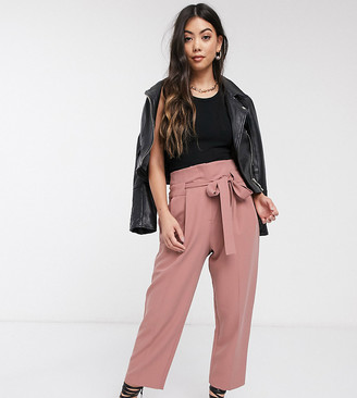 ASOS DESIGN Petite tailored tie waist tapered ankle grazer pants