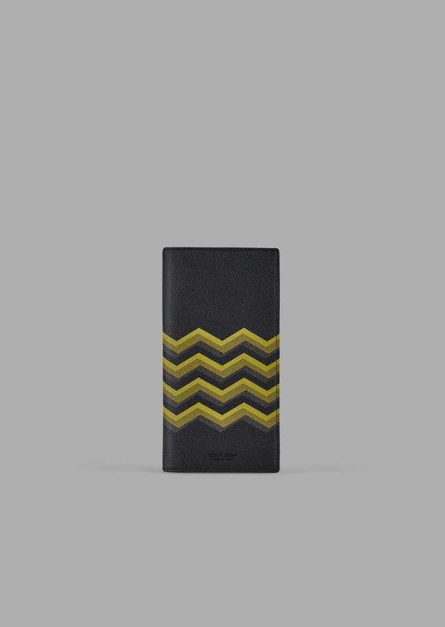ff953839cd Vertical Wallet In Leather With Colored Chevron Print