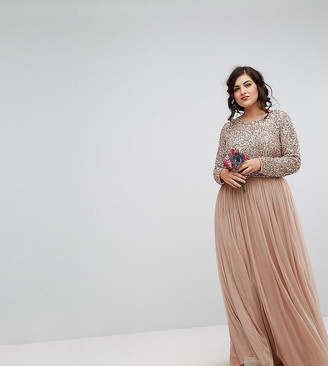 Maya Plus Bridesmaid long sleeved maxi dress with delicate sequin and tulle skirt