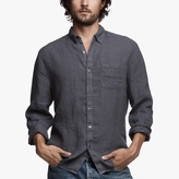 James Perse Long Sleeve Needle Stripe Linen Shirt