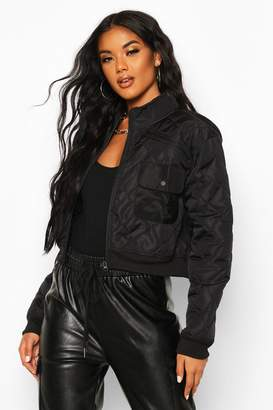 boohoo Cropped Pocket Detail Bomber