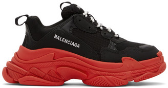 Balenciaga Black and Red Triple S Sneakers